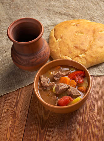 Old fashioned beef stew .homemade American beef stew.country cuisine photo
