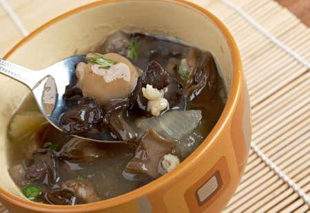 pearl barley: Russian sauerkraut soup with mushrooms and pearl barley