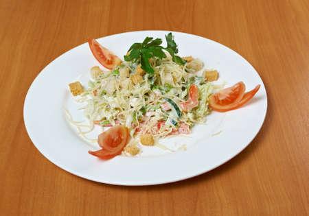 Caesar salad prepared on  classical recipe.closeup photo