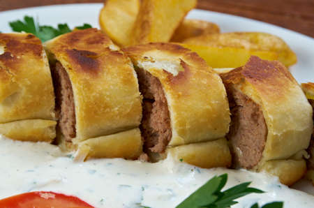 kebob: Turkish pide with beef meat and sauces