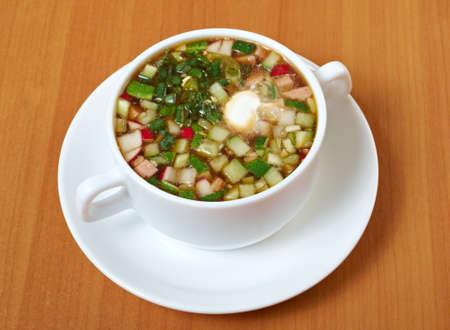 okroshka:  Russian traditional Summer cold soup, okroshka