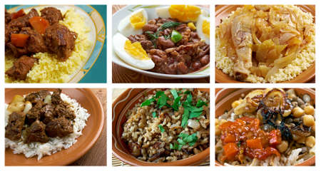Food set African traditional cuisine.collage