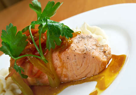 Grilled Salmon Steak with  Tartare Cream  photo