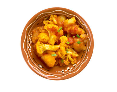nigella seeds: Aloo gobi dry Pakistani, Indian and Nepali cuisine dish made with potatoes,cauliflower
