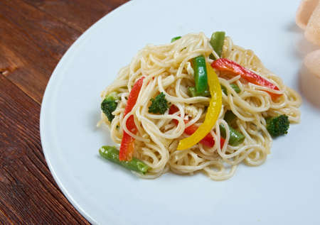 asian noodles: Chinese asian noodles stir fry with vegetables