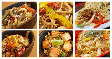 chinese noodle: Food set of different  chinese  noodle . collage