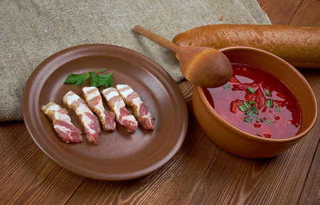 homestyle: farmhouse kitchen lunch uncooked dried bacon and beet soup