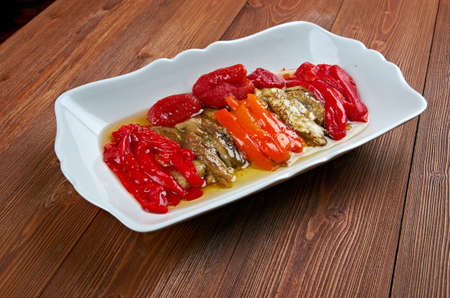 Escalivada - traditional Catalan dish of smoky grilled vegetables of roasted eggplant and bell peppers with olive oil