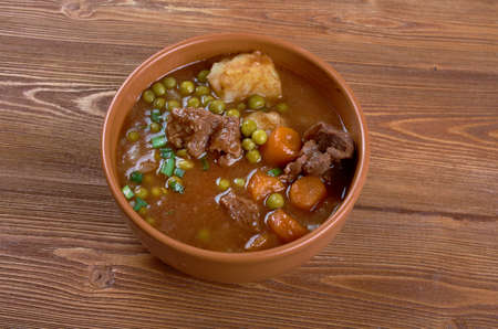fricassee: beef fricassee - French meat  cut into small pieces, stewed or fried