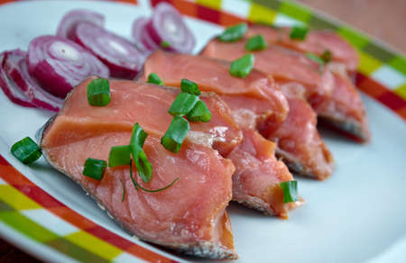 Rakfisk - Norwegian fish dish made from trout or sometimes char, salted and fermented Stock Photo