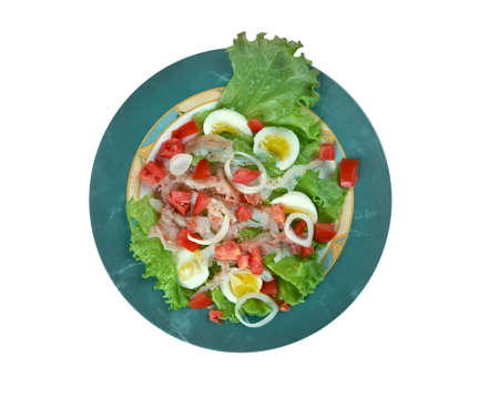 Ensalada de bacalao - salted cod salad.Traditional Catalan salad photo