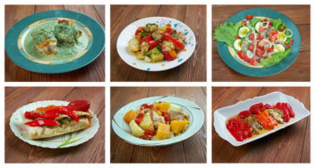 andalusian cuisine: Food set .spanish and  Portuguese  traditional  cuisine.closeup