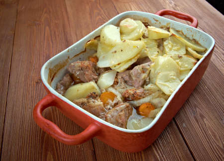 lancashire: Lancashire hotpot - dish made traditionally from lamb, topped with sliced potatoes. Originating in   in Lancashire in the North West of England Stock Photo