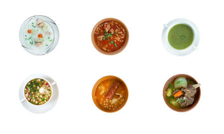 sopa: Food set of different traditional soups. collage