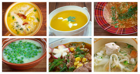 Food set of different traditional soups. collage photo