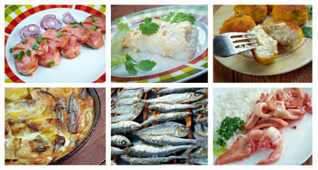 corcovado: Alimentaci�n conjunto de pescados y mariscos diferentes. collage