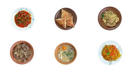 Food set oriental Middle East cuisine.collage