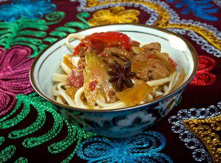 uzbek: oriental uzbek soup lagman  - Uzbek cuisine Stock Photo