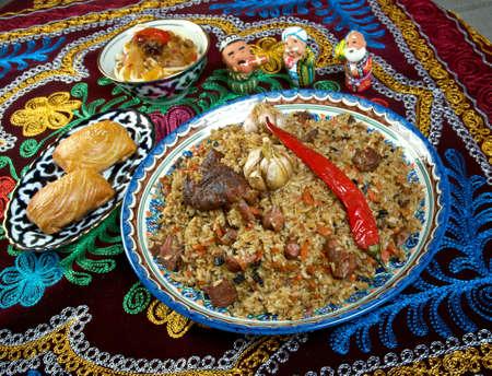 uzbek: Oriental  pilaf .Uzbek cuisine -Central Asian cuisine Stock Photo