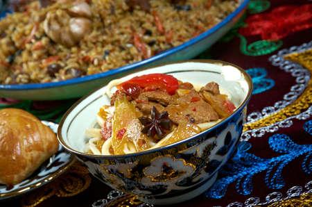 sorbet: Jedzenie ustawić Central Asian Cuisine - Plov, Lagman sorbet i Samsa