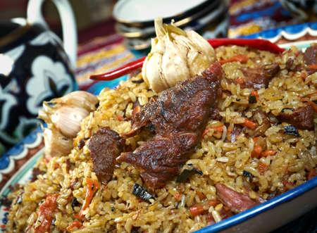 sherbet: food set  Central Asian cuisine - plov, lagman,sherbet  and samsa