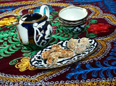 sherbet: Uzbek cuisine - tasty sherbet with nuts Stock Photo