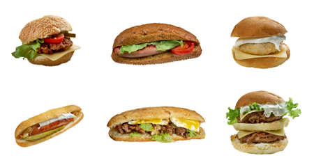 maxwell: Food set of different american burger and Sandwich . collage