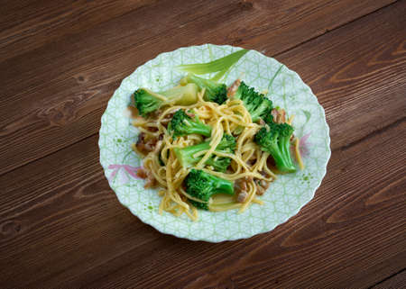 broccoli salad: Crunchy Broccoli Salad with noodles, chicken Stock Photo