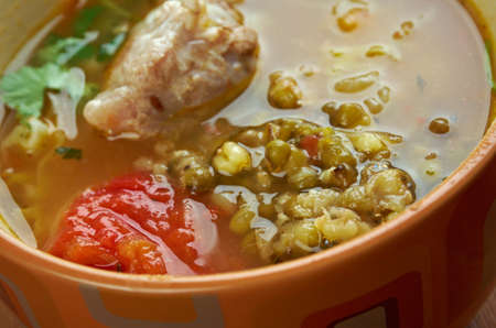 moong: soup shourpa with moong dal .Uzbek cuisine
