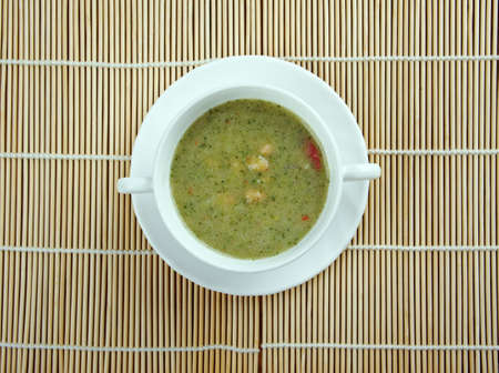 broad bean: Broad Bean And Bacon Soup - classic recipe from Britain