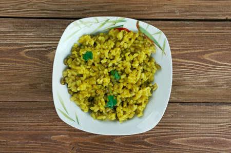 moong: moong dal khichdi - traditional Indian dish called khichdi