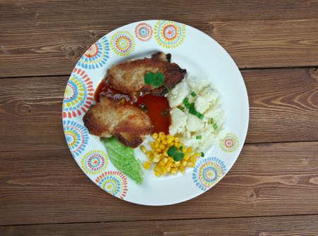 karaj: pork chop with vegetables.close up