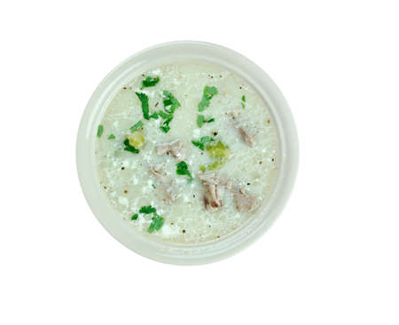 chowder: Chicken Asparagus Chowder close up Stock Photo