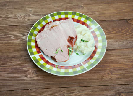 obody: Kassler - German cuisine  salted  and slightly smoked cut of pork Stock Photo
