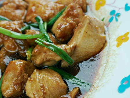 hoisin sauce: Mongolian Chicken - American style Chinese food stir fried. preparation methods are drawn from traditional Mongolian cuisine. Stock Photo