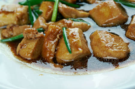 chinese american: Mongolian Chicken - American style Chinese food stir fried. preparation methods are drawn from traditional Mongolian cuisine. Stock Photo