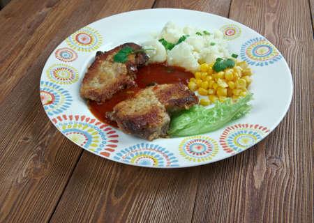 pork chop: pork chop with vegetables.close up
