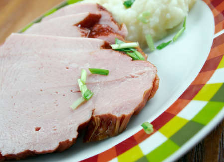 Kassler - German cuisine  salted  and slightly smoked cut of pork Stock Photo