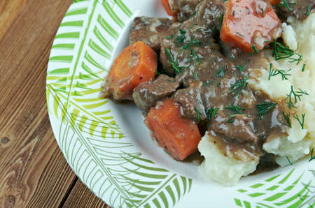 inexpensive: Daube stew - classic Provença  French stew made with inexpensive beef braised in wine, vegetables, garlic Stock Photo