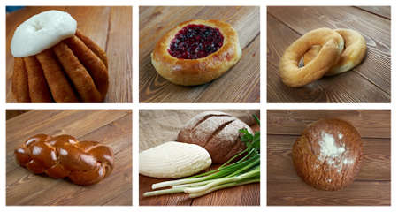 rum baba: Food set russian bread and pastry. collage