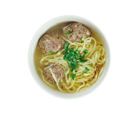 azerbaijani: hamrashi - Azerbaijani soup with noodles and meatballs Stock Photo