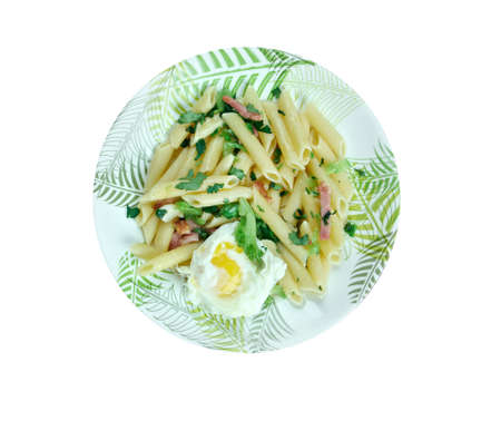 florentine: Penne Florentine with bacon and poached egg Stock Photo