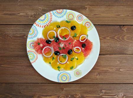 sicilian: Sicilian orange salad -  typical salad dish of the Spanish and Sicilian cuisine