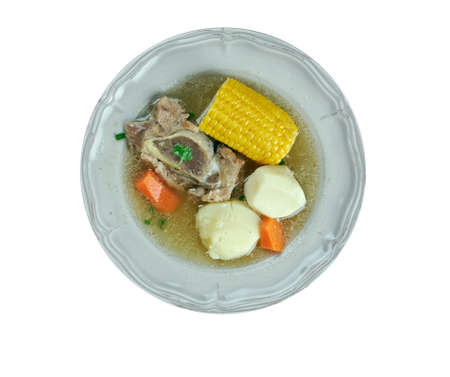 sopa: Puchero  sopa - stew originally from Spain, prepared in Yucatán, Mexico, Argentina, Colombia, Paraguay, Uruguay. basic ingredients of the broth are meat , bacon, cured bones and vegetables Stock Photo