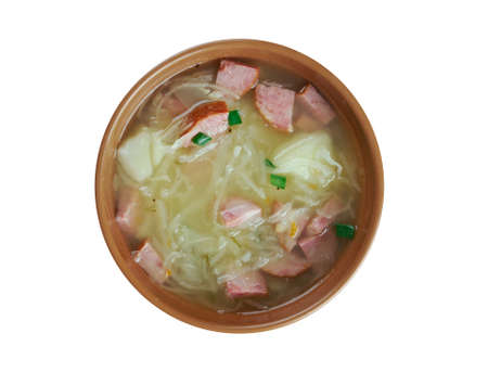 cuisines: Kapusniak - Cabbage soup is a filling vegetable soup of sauerkraut  cabbage. common in Polish, Slovak and Ukrainian cuisines Stock Photo