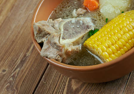 cazuela: Cazuela -  given to a variety of dishes, specially from South America. cooking several kinds of meats and vegetables mixed. Stock Photo