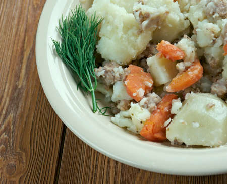 variously: Stovies - Scottish dish based on potatoes.contains potatoes with, variously, onions, carrots, other vegetables,  minced beef .