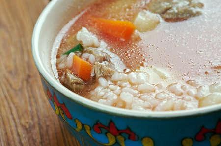 uzbek: mastava soup - Uzbek rice soup.Central Asia cuisine
