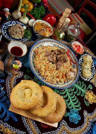 sherbet: food set  Central Asian cuisine - plov, lagman,sherbet ,manti