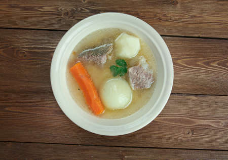 leeks: Aberaeron Broth - Welsh-language. broth which consists of bacon, beef, parsnips, cabbage, leeks, carrots Stock Photo